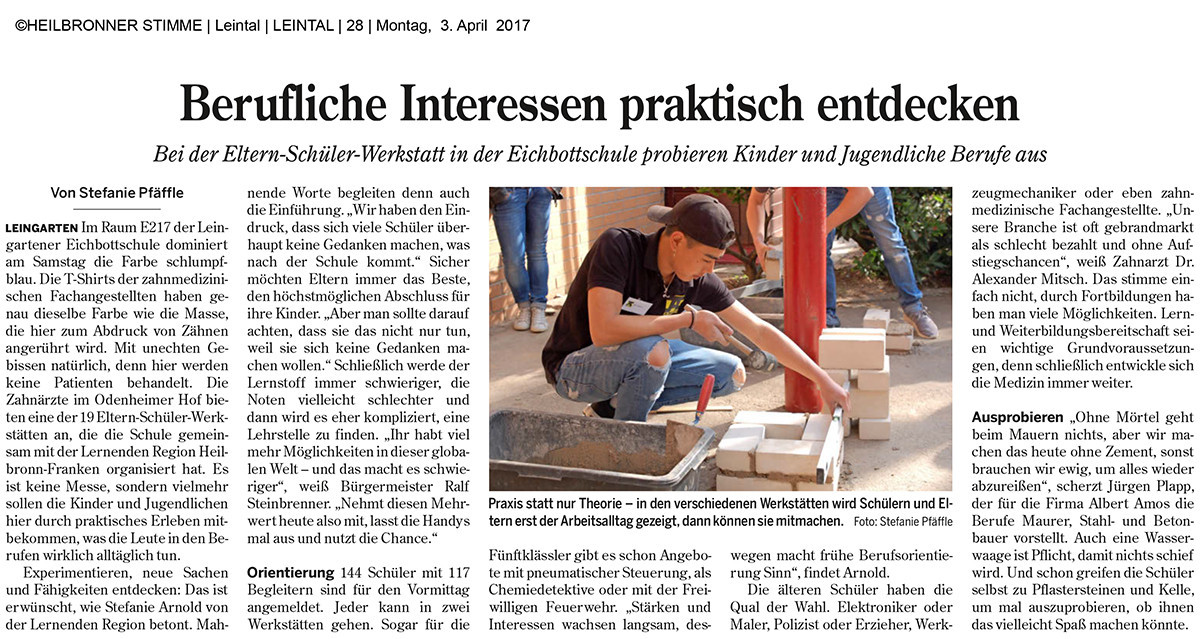 Eltern-Schüler-Werkstatt – Die Zahnärzte im Odenheimer Hof – Leingarten (Heilbronn) - Dr. Alexander Mitsch M.Sc. & Dr. Jan Felix Hartl M.Sc.