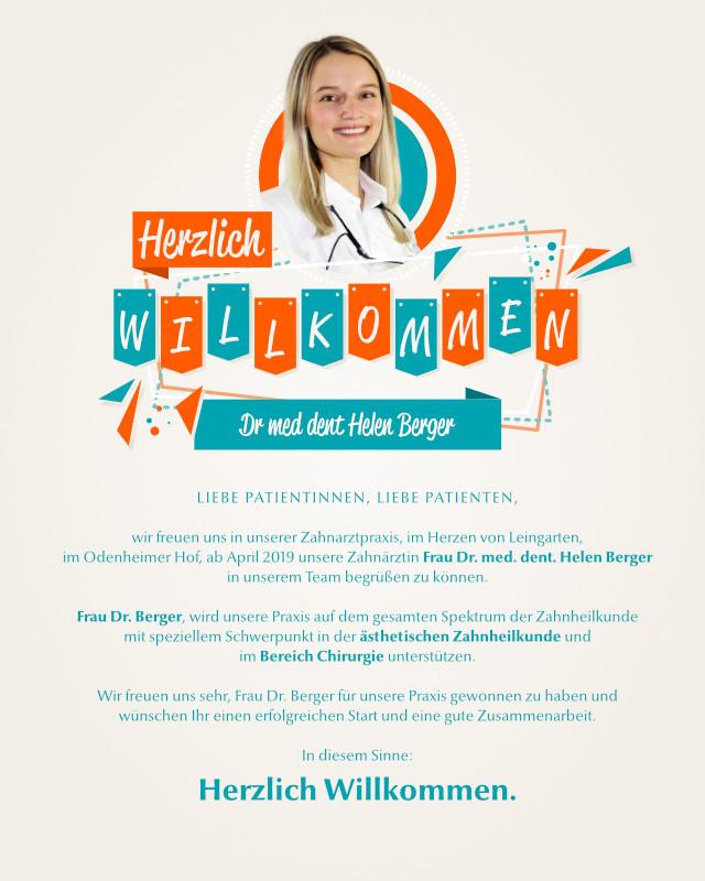 Dr. med. dent. Helen Berger – Die Zahnärzte im Odenheimer Hof – Leingarten (Heilbronn) - Dr. Alexander Mitsch M.Sc. & Dr. Jan Felix Hartl M.Sc.