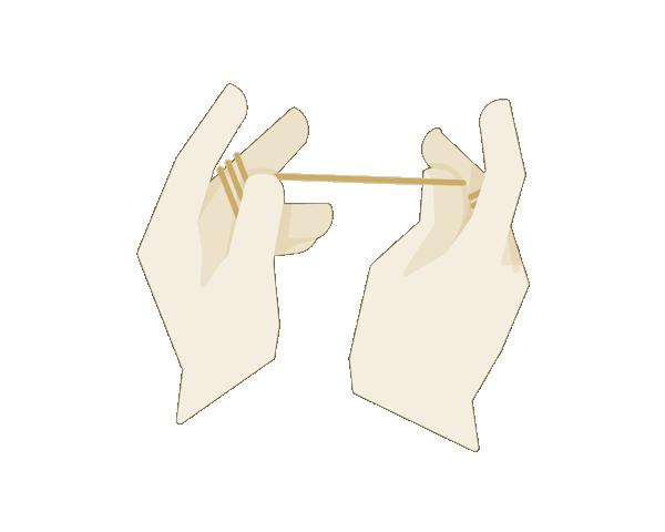 Zahnseide  Das andere Ende der Zahnseide 7 - 8 mal um den linken Mittelfinger wickeln.