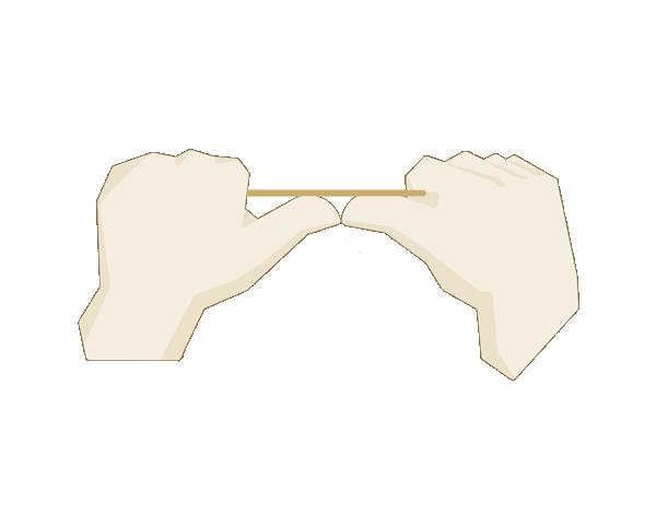 Zahnseide  Ca. 10 cm zwischen den Händen frei lassen.