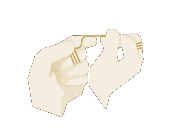 Zahnseide  2 cm über Daumen und Zeigefinger straff spannen. Die Hände berühren sich dabei. Rechter Daumen für die oberen Zähne rechts. Daumen und Zeigefinger halten nie, sondern führen nur die Zahnseide.
